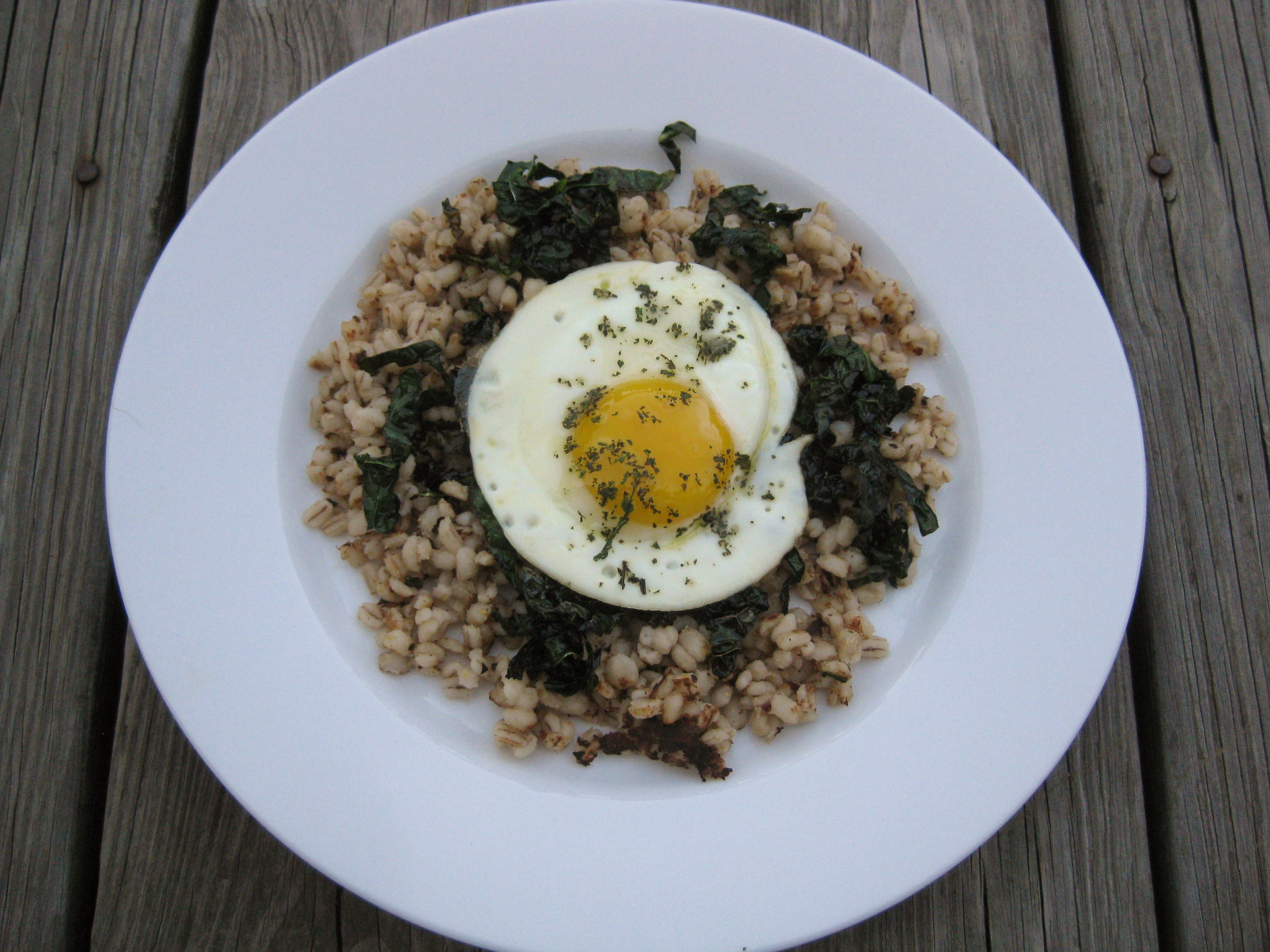 Fried Egg on Kale and Barley