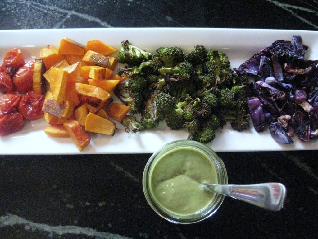 roasted vegetables with hummus dressing