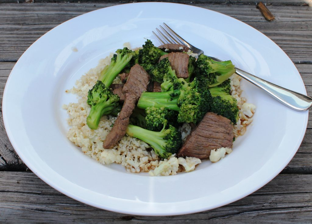 beef and broccoli with cauliflower rice