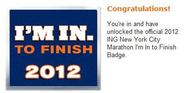NYC Marathon Entry Badge 2012