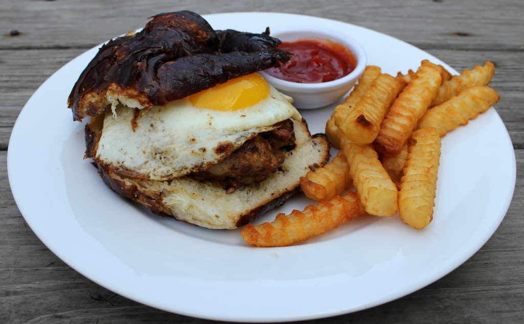 sausage breakfast burger