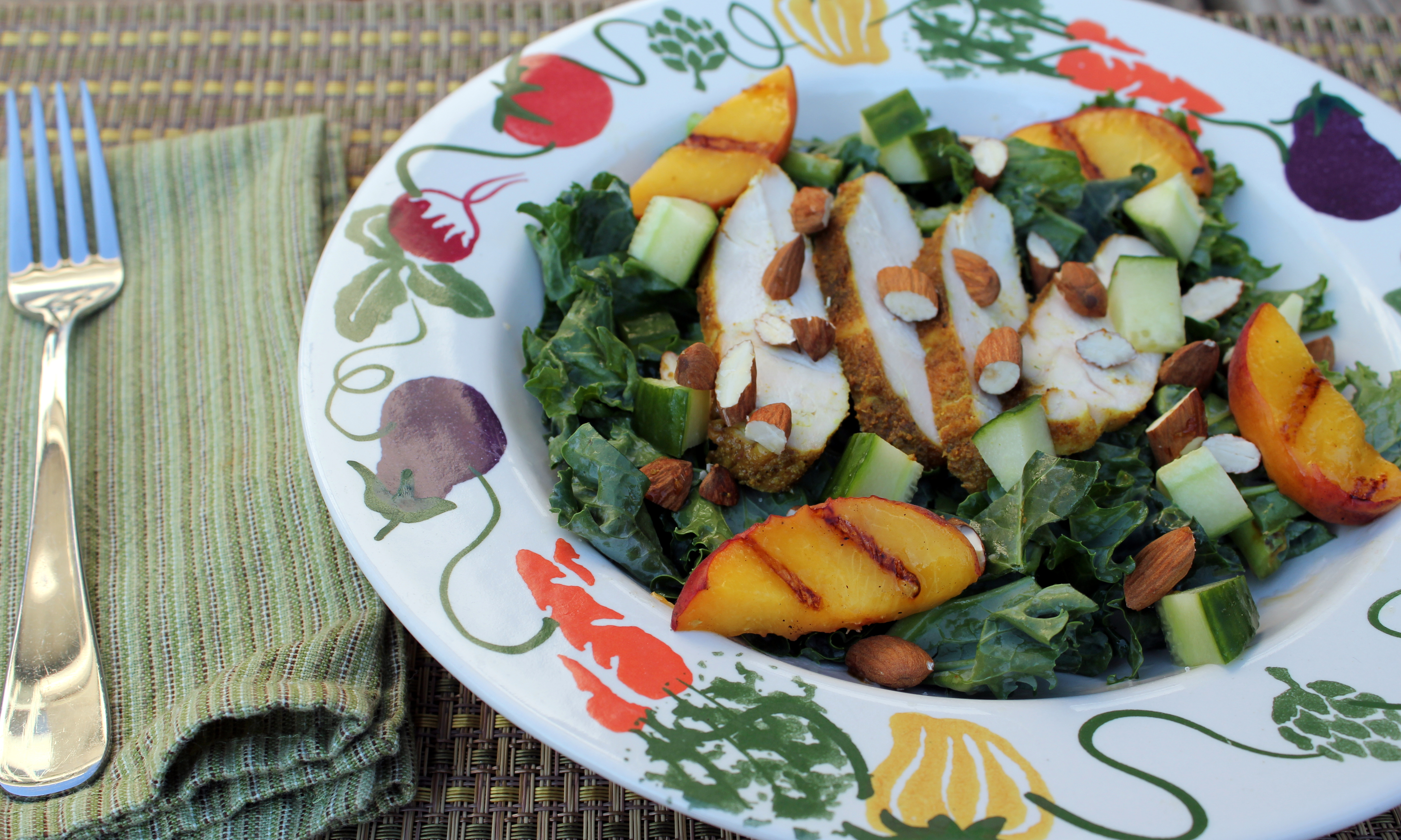 grilled peach and kale salad