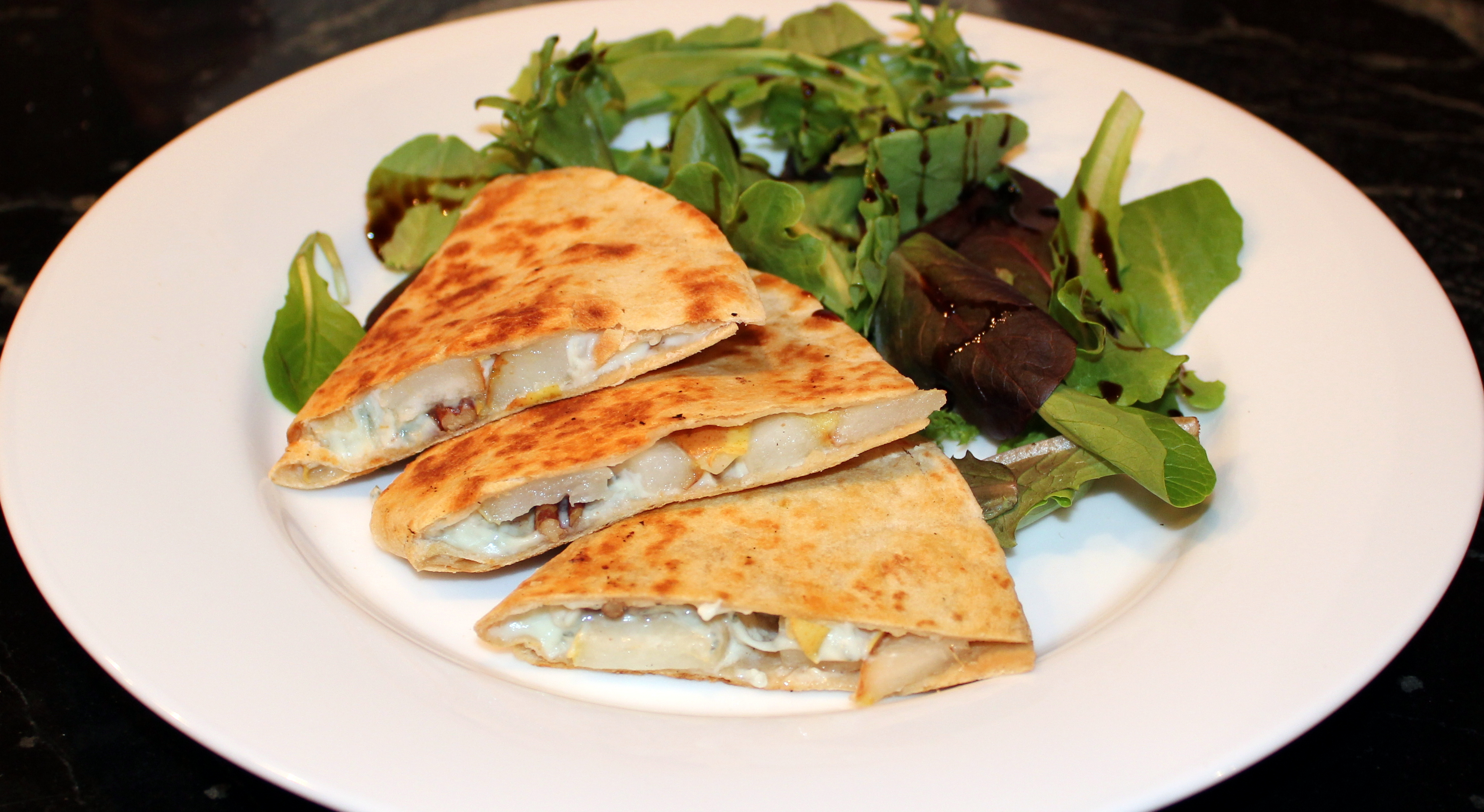 pear and blue cheese quesadillas