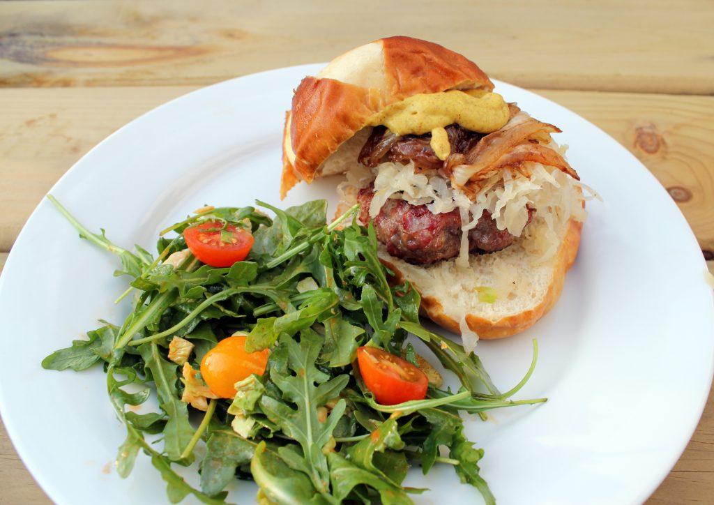 bratwurst burger dinner