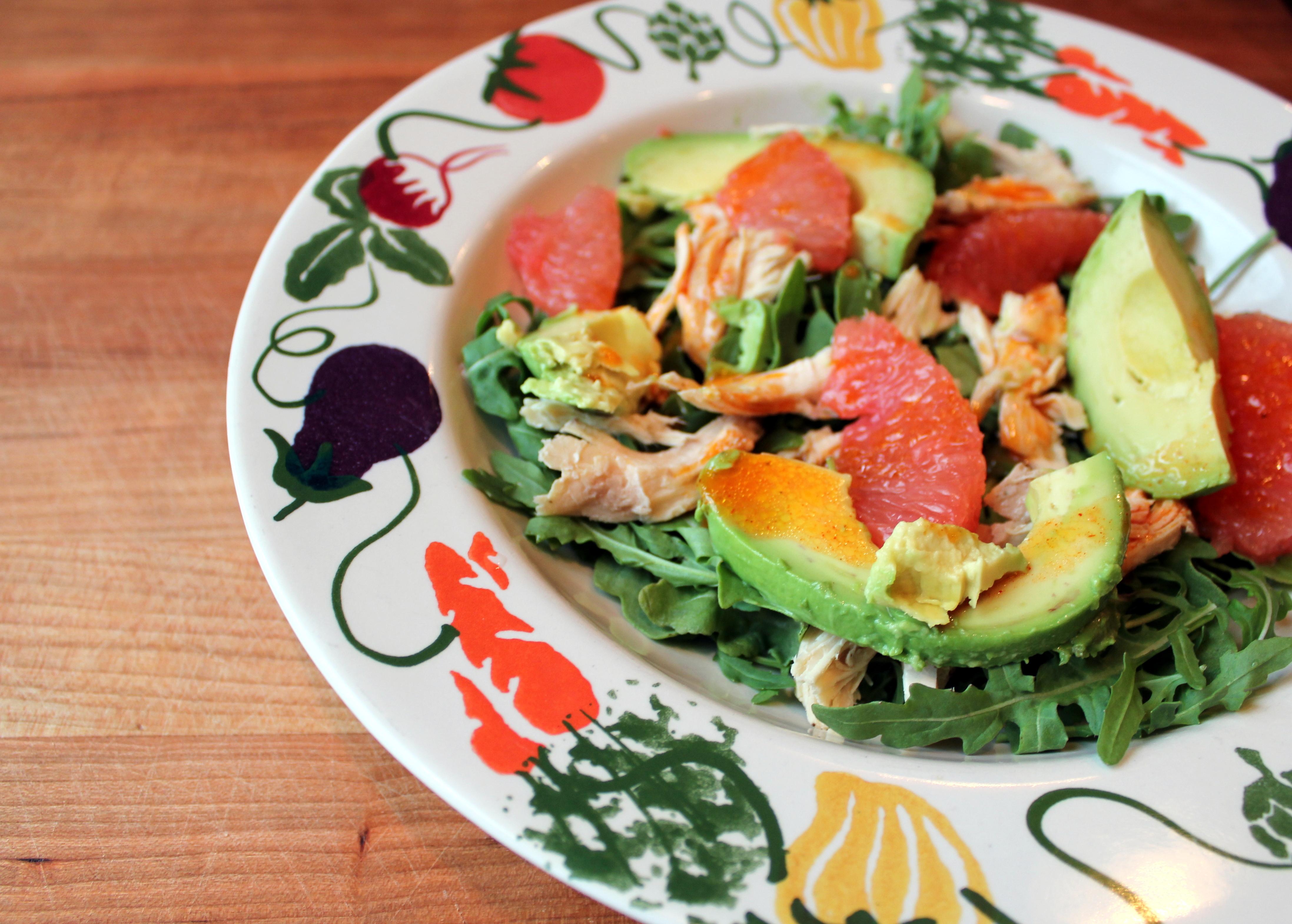 grapefruit chicken and avocado salad
