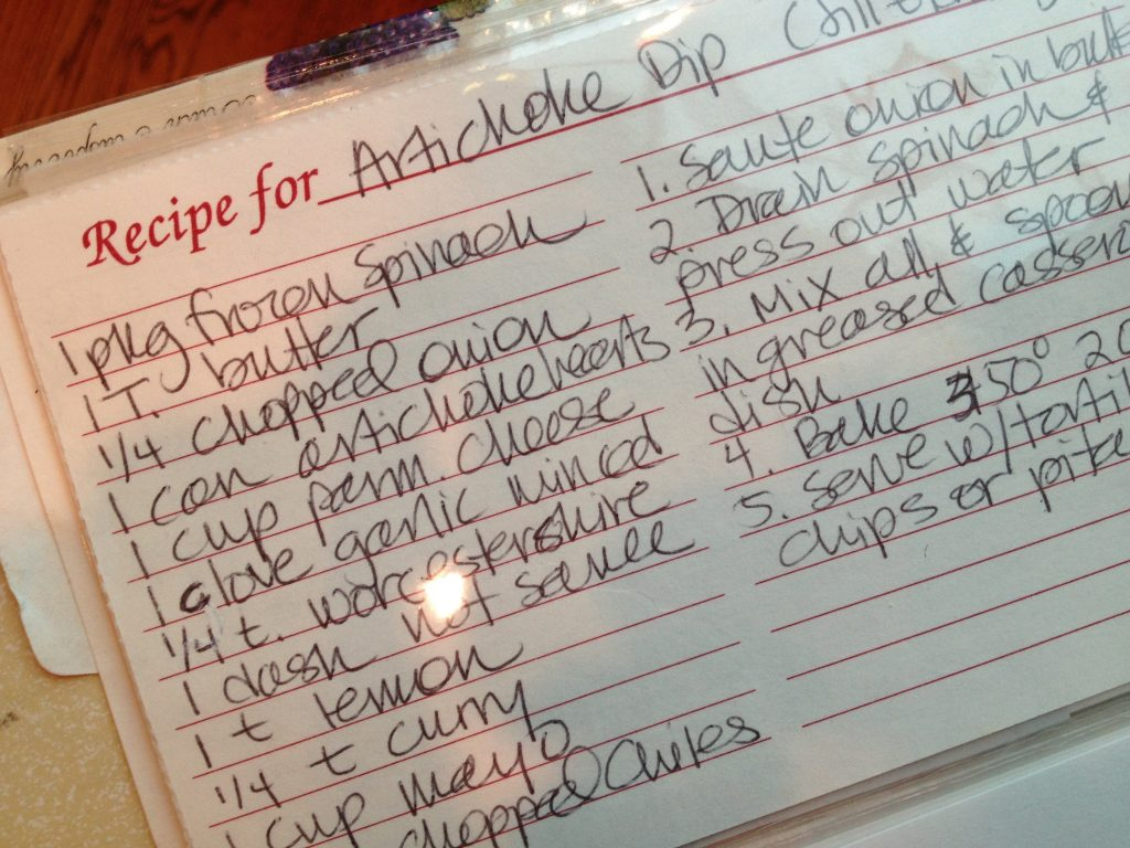 Artichoke Recipe Card