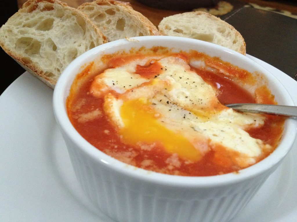 Let it Snow! {Eggs Baked in Tomato Sauce}